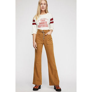 Free People Corin Mustard Mod Slim Flare Pants 12